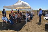 Firebaugh farm manager Jesse Sanchez speaks at a soil care demonstration.
