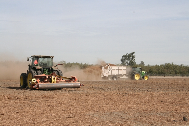The modified manure spreader in the background spreads wood chips, while the roto tiller mixes wood chips into the ground.