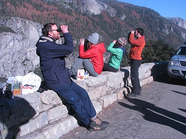 Recreational bird watchers in Yosemite National Park. Photo courtesy of NPS.