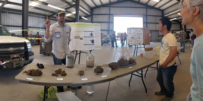 PhD student Daniel Rath teaches principles of soil aggregates at Russell Ranch's recent Soil Health Workshop