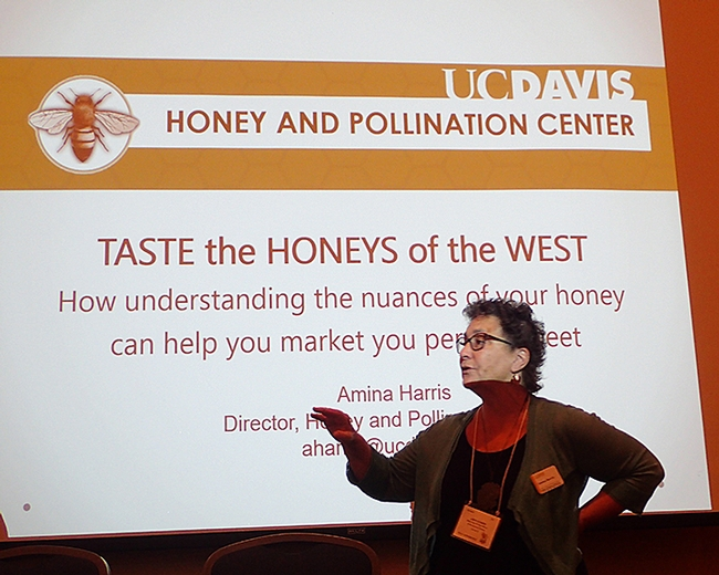 Amina Harris, director of the UC Davis Honey and Pollination Center, speaks Sept. 6 at the Western Apicultural Society's 40th annual conference, held at UC Davis. (Photo by Kathy Keatley Garvey)