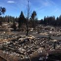 Remnants of a burned trailer park in Paradise after the Camp Fire.