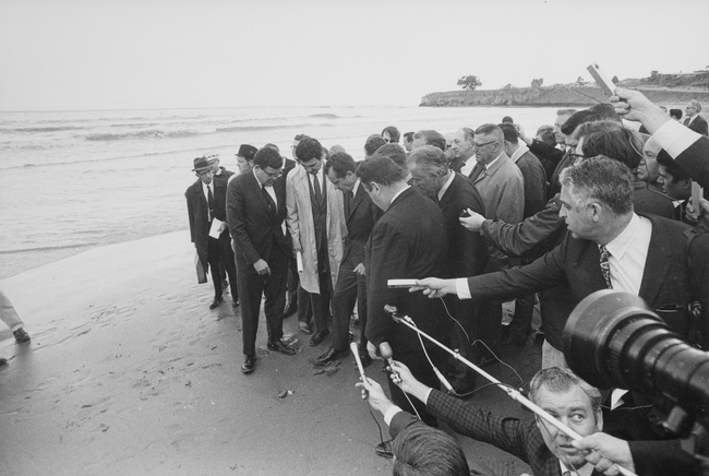 In 1969, President Richard Nixon visited the site of an oil slick in Santa Barbara. (Photo: Wikimedia Commons)