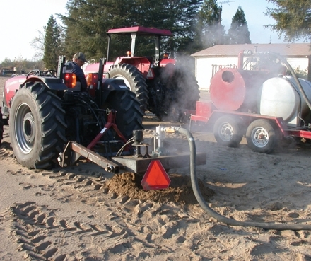Injecting steam may be one way to disinfest soil without chemical fumigants.