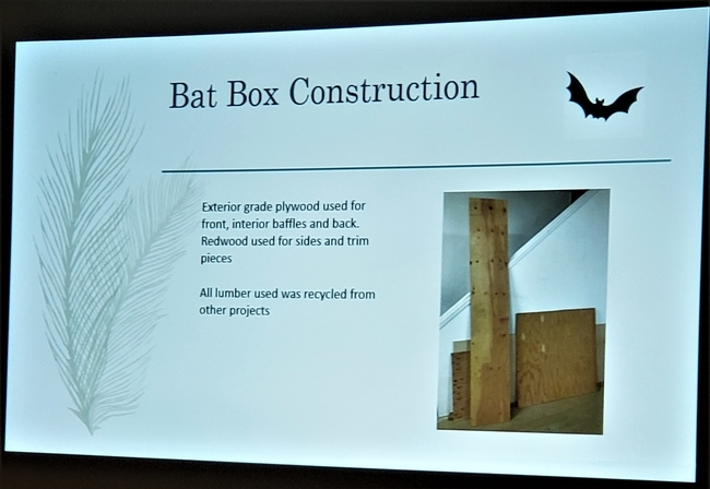 Bat boxes can be constructed to attract bats, which are very important pollinators and seed dispersers.