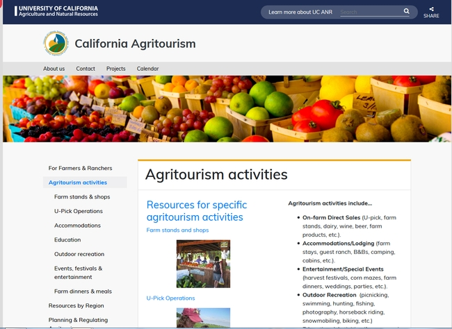 California Agritourism website screenshot