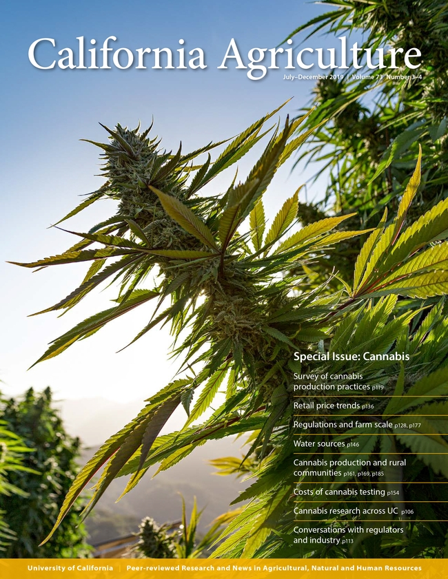 The July-December 2019 issue of California Agriculture journal focuses on cannabis.