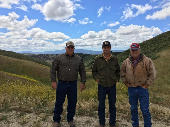 From left, UC Cooperative Extension natural resource and watershed advisor Royce Larsen and Shapero visit Santa Barbara County rancher Jerry Williams. UCCE research provides benefits for ranchers and the general public, Shapero says..