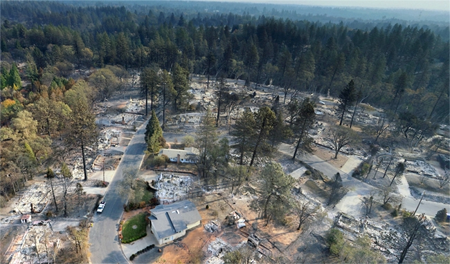 Drone imagery of a Paradise neighborhood after the 2018 Camp Fire.