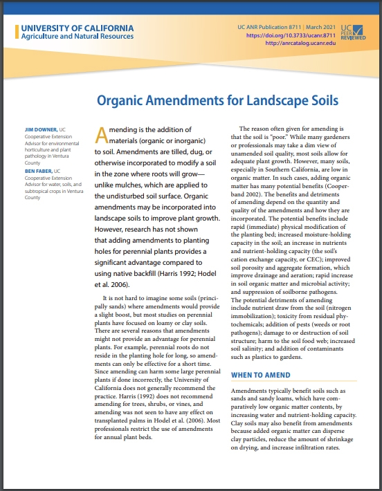 A new publication from UC ANR on organic amendments in landscapes is now available for free download from the UC ANR catalog, anrcatalog.ucanr.edu.
