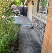 Concrete sidewalk and driveway border the house.
