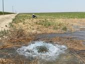 Rancher wearing a cowboy hat is in the pasture in background. A bubbling stream is in the foreground of the pasture.