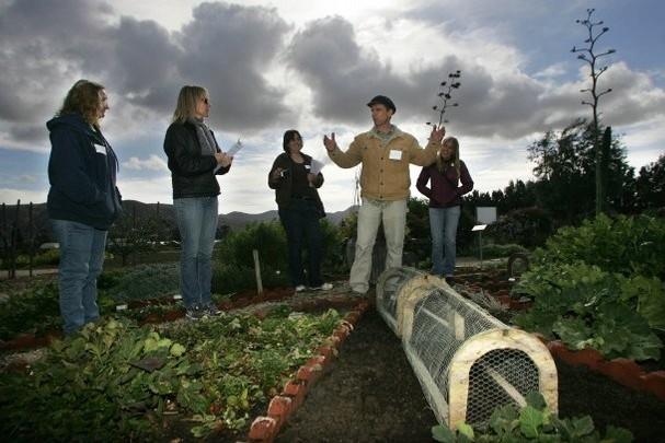 Educators gather for lesson in HAREC gardens. Photo courtesy of Ventura County Star