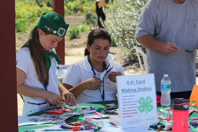 Community service table. 4-H youth participate in a card making table for service men and women.