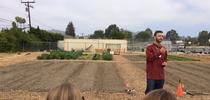 Chris Massa, VC Farm to School Operations Specialist introduces the new Salad Bar Farms at Balboa Middle School, Ventura. A prototypye for VUSD. This farm will source directly into the school cafeteria. First harvest yielded 30 pounds of produce for Hansen News Blog