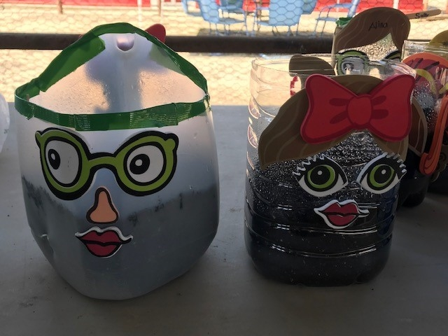 recycled silly planters