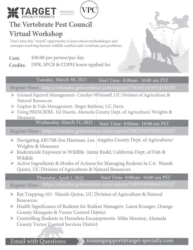 Vertebrate Pest Council 2021 Seminar Series