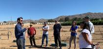 Amir Haghverdi showing plots to EarthWatch, UCCE and CBWCD teams for Environmental Horticulture News Southern California Blog