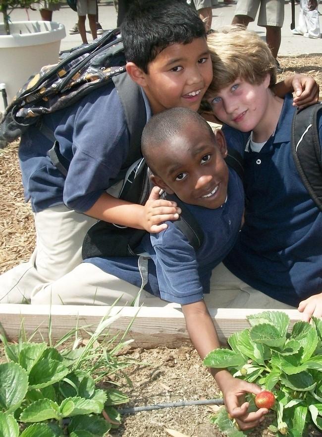 children in school garden in San Bernardino