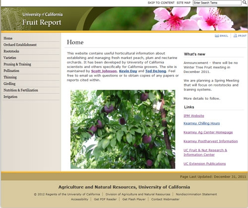 The new <a href=http://ucanr.org/sites/fruitreport>UC Fruit Report</a> website contains information collected over 30 years.