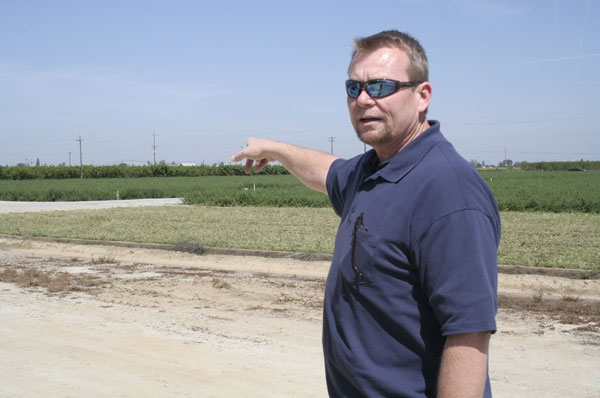 Robert Ray points out the area where the solar array will be installed in early May.