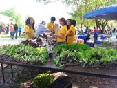 Youth from Parlier's Leo club helping set up KARE's booth at Parlier Earth Day.
