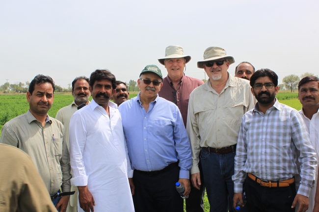 Dr.Khaled Bali (green hat), Dr.Dan Putnam (center back), and Dr.Jeff Dahlberg (tan hat and shirt) meeting with Pakistani improved forage stakeholders.