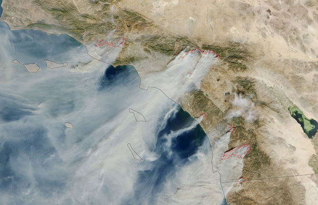 Dry, northeasterly winds come in the fall and the winter, often through mountain ranges, which fuels wildfires in Southern California – a different pattern than summertime fires. (Photo: NASA)