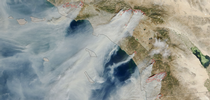 Dry, northeasterly winds come in the fall and the winter, often through mountain ranges, which fuels wildfires in Southern California – a different pattern than summertime fires. (Photo: NASA) for UC ANR Knowledge Stream Blog