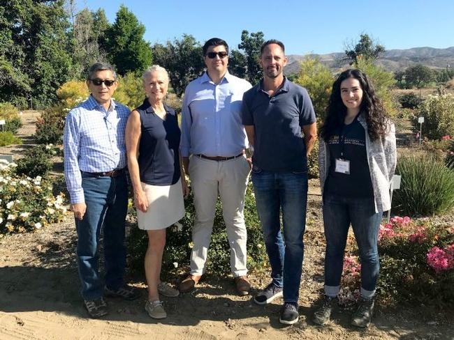 UC Landscape Plant Irrigation Trials™ Team members, L to R: Loren Oki, Karrie Reid, Jared Sisneroz, Darren Haver, Bridget Giffei. (Photo: Karrie Reid)