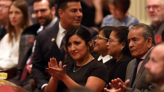 State Sen. Melissa Hurtado, D-Sanger, applauds during the swearing-in ceremony in Sacramento earlier this month. She was among a wave of Latino candidates who were elected to the statehouse. Community activist Christian Arana writes that the next challenge is ensuring Latinos are counted in the 2020 U.S. Census. JUAN ESPARZA LOERA  FRESNO BEE FILE