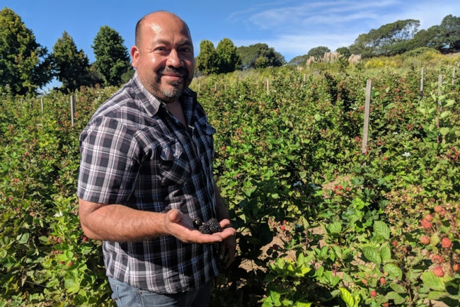 Javier Zamora on his farm. (Photo © Muna Danish)