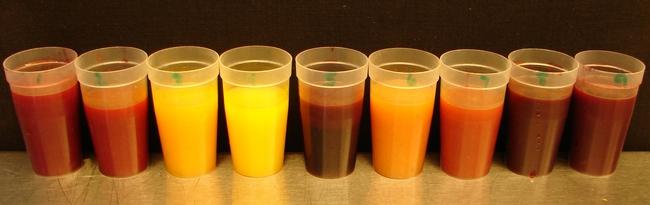 Blood orange juice from left to right: Smith Red, Sanguinelli, California Rojo, Cara cara, Moro, Delfino, Boukhobza, Tarocco, and Bream Tarocco