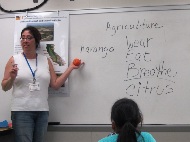 Roberta Barton delivers an agriculture lesson.