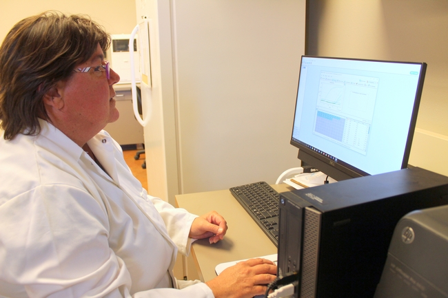 Therese Kapaun performs RT-qPCR on CTV samples in the Lindcove Plant Pathology Lab.