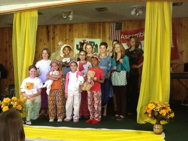 All entrants onstage wearing the clothing they made for the Fashion Show at the Antelope Valley 4-H Food and Fashion Revue