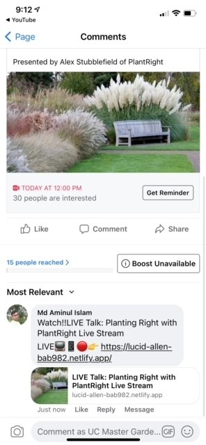 Screenshot of a Facebook event where a spammer posted the comment