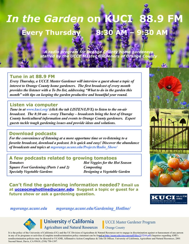 Did You Know About In The Garden On KUCI 88.9 FM?   UCCE MG ...