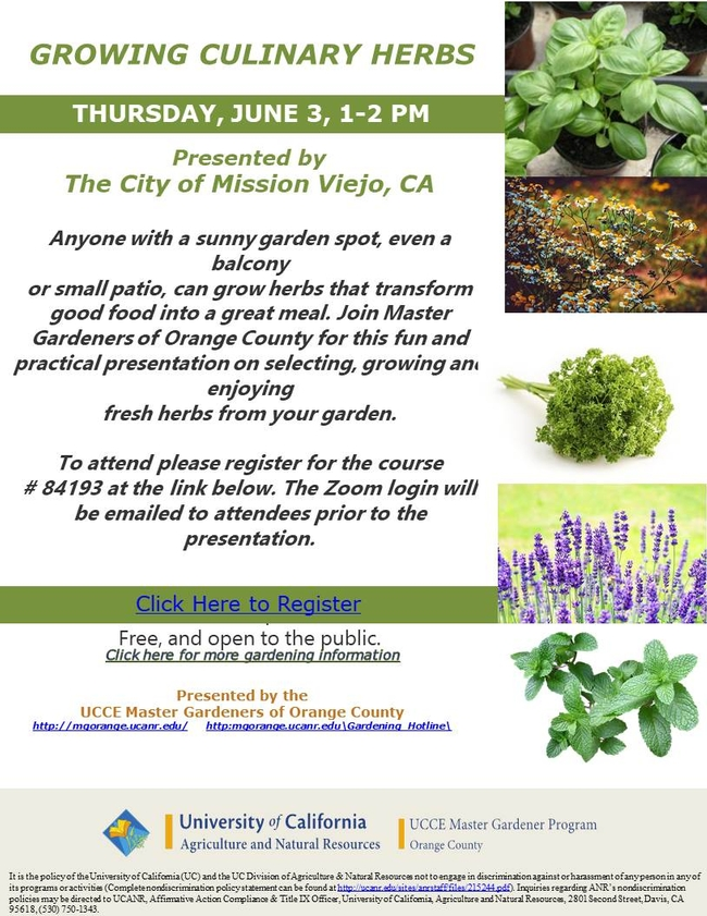 Save The Date For Growing Culinary Herbs