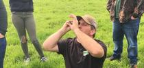 Fig 1: Loren Poncia checking sugar levels of grass for Outstanding in the Field: Views from North Coast Rangeland Blog