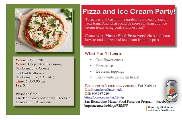 Pizza and ice cream party class coming up master food preservers and next month ccuart Choice Image