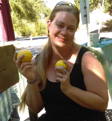 Me, happy as ever, with my lemons