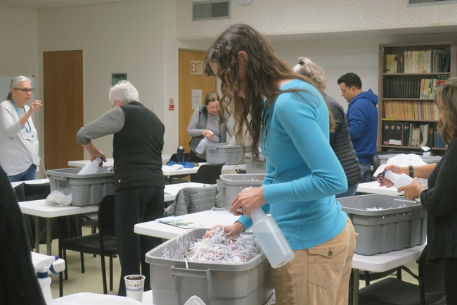 Making worm bins.