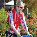 A San Joaquin Master Gardener working in the Learning Landscape