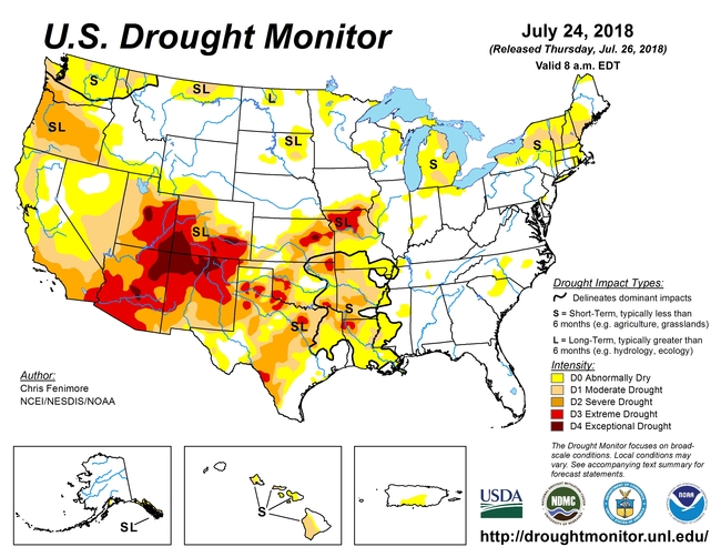 August 1 2018 US Drought Monitor Map