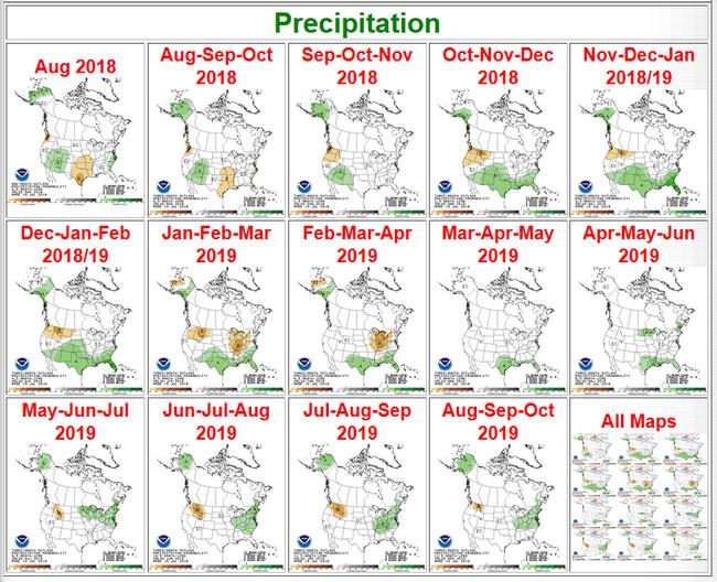 Precipitation forecasts via NOAA
