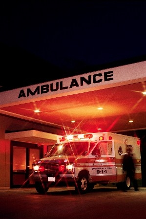 Ambulance at hospital emergency room
