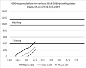 Figure 1 Growing degree accumulation (GDD: max = 86F; min = 45F) for various planting windows between this year's storms. These may vary slightly between areas like Dixon, Zamora, and Davis.