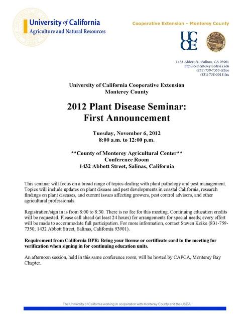 2012 Plant Disease Seminar