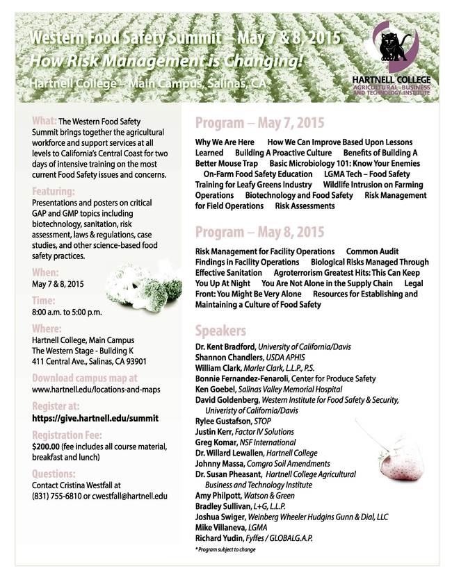 Western Food Safety Summit flier Page 1